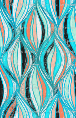 Mid Century Modern Textured Abstract in Turquoise