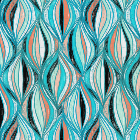 Mid Century Modern Textured Abstract in Turquoise fabric by micklyn on Spoonflower - custom fabric