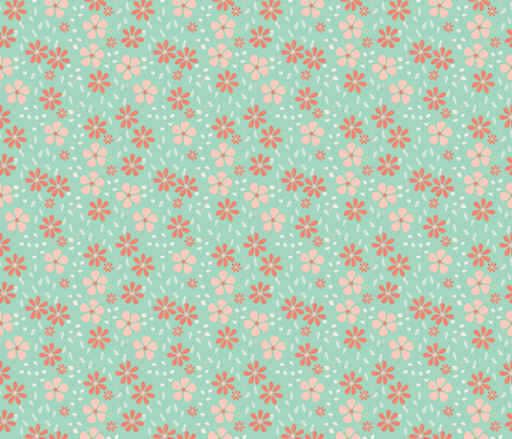 Bella Floral - mint and coral fabric by valeri_nick on Spoonflower - custom fabric