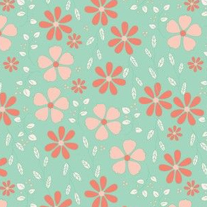 Bella Floral - mint and coral
