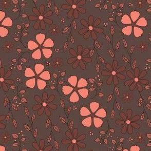 Bella Floral - brown and pink