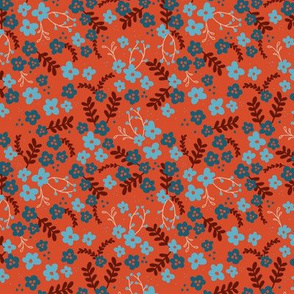 Ava Floral - orange and blue