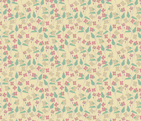 Everly Floral - cream and pink fabric by valeri_nick on Spoonflower - custom fabric