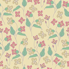 Everly Floral - cream and pink