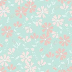 Francesca Floral - mint and pink