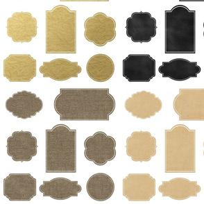 Burlap Gold Foil Vintage Paper Chalkboard Labels