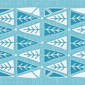 Mod Triangles Tea Towel - Blue