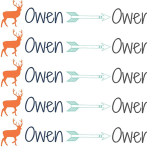 """Custom Name Fabric """"Owen"""" with deer and arrows"""