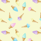 Ice Cream Cones Pastel Kawaii Yellow