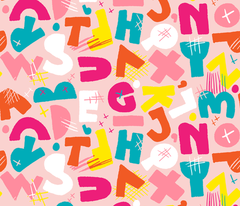 Chunky Abstract Alphapet - Princess fabric by pinky_wittingslow on Spoonflower - custom fabric