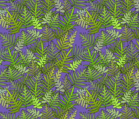 Laua'e Ferns on Purple 150 fabric by kadyson on Spoonflower - custom fabric
