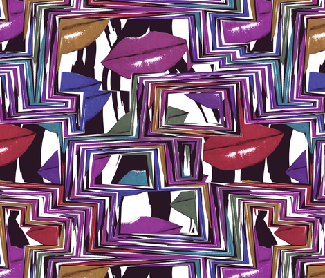 zig zag lips fabric by kociara on Spoonflower - custom fabric
