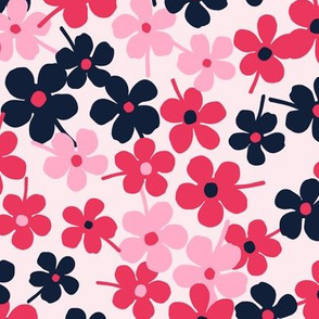 Flower Garden - Pink Red Navy