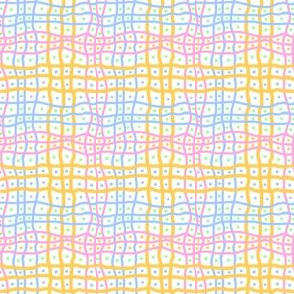 Wavy Grid With Dots: White