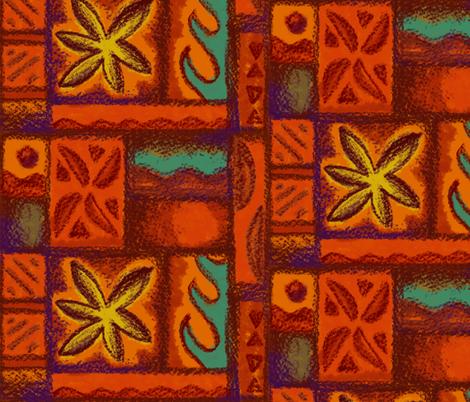 Wave Flower Barkcloth Red fabric by woodyworld on Spoonflower - custom fabric