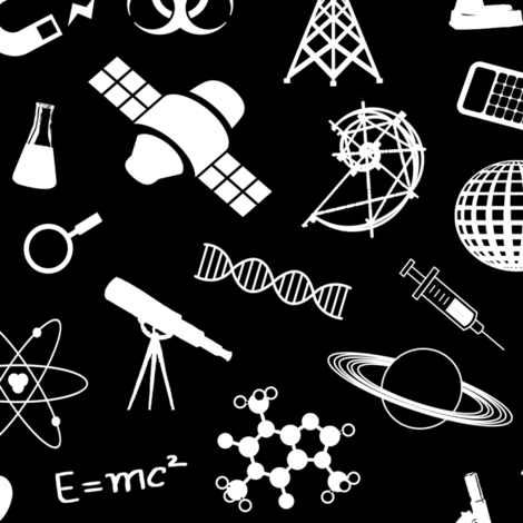 Science Symbols on Black // Large fabric by thinlinetextiles on Spoonflower - custom fabric
