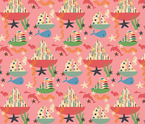 sweet summer boat pink fabric by bruxamagica on Spoonflower - custom fabric