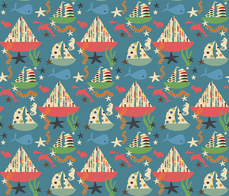 sweet summer boat blue fabric by bruxamagica on Spoonflower - custom fabric
