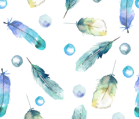 watercolor Feathers pattern  fabric by holaholga on Spoonflower - custom fabric
