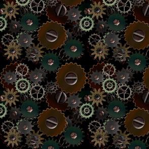 Layered Clockwork Gears on Black Steampunk Design