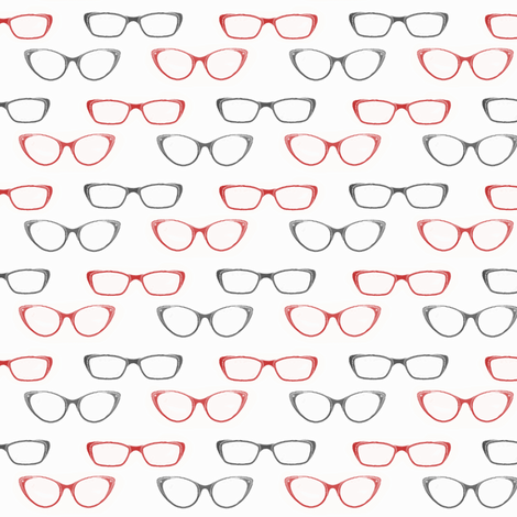 Glasses (Black and Red variant) fabric by mmarie-designs on Spoonflower - custom fabric