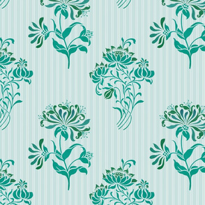 Art Nouveau Floral Woodcut Aqua - Day 4