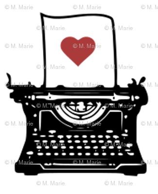 Pen & Ink Typewriter (red heart variant)