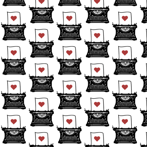 Pen & Ink Typewriter (red heart variant) fabric by mmarie-designs on Spoonflower - custom fabric