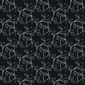 Tulips vine flower Lino Black  and white