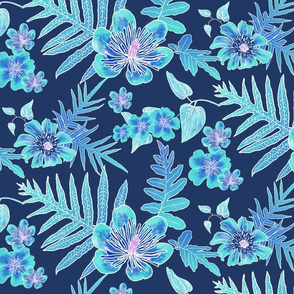 Hawaiian Fern Batik Turquoise