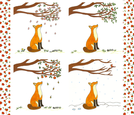 Fox and the Four Seasons Quilt Panel fabric by sleepingdogquilts on Spoonflower - custom fabric