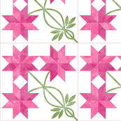Cheater Quilt Double Peony Block 11in Pink Green