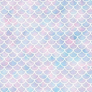 Small Scale Mermaid Scales Pattern in Cotton Candy Watercolor
