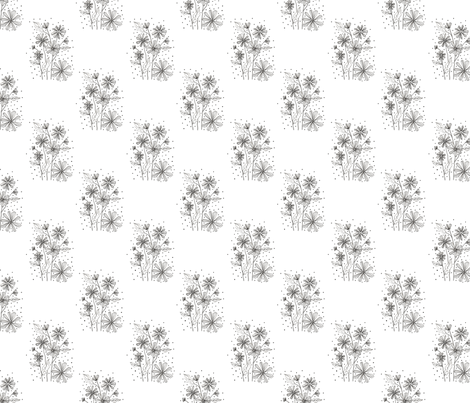 Black White Floral fabric by argenti on Spoonflower - custom fabric