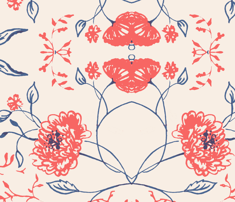 Navy_coral_flowers_of_remembrance fabric by jennifer_rizzo on Spoonflower - custom fabric