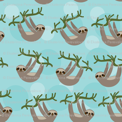 Three-toed sloth on green branch on blue background.