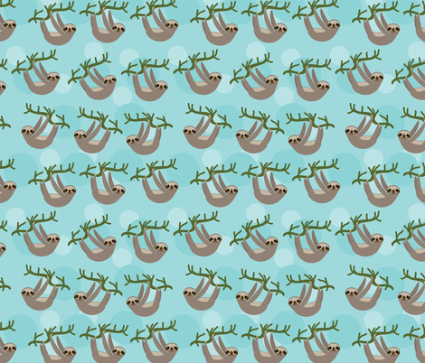 Three-toed sloth on green branch on blue background. fabric by ekaterinap on Spoonflower - custom fabric
