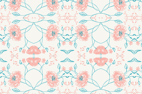 Coral_teal_flower_of_remembrance fabric by jennifer_rizzo on Spoonflower - custom fabric