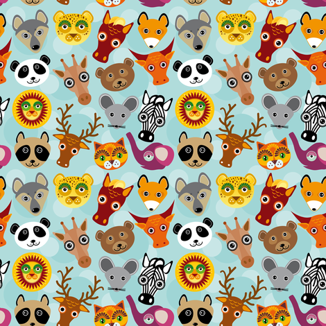 funny cute animal face on a blue background fabric by ekaterinap on Spoonflower - custom fabric