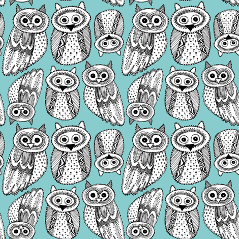 Decorative Hand dravn Cute Owl  fabric by ekaterinap on Spoonflower - custom fabric