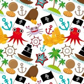 Marine pirate pattern on white background.