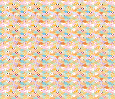 japanese cherry sakura flowers, cute kawaii faces with a smile, pastel color fabric by ekaterinap on Spoonflower - custom fabric