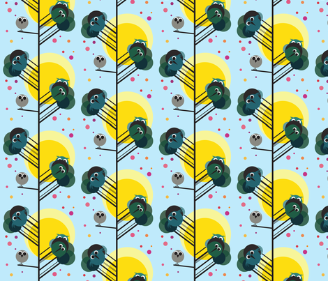 Owls in trees fabric by birdybirdydesign on Spoonflower - custom fabric