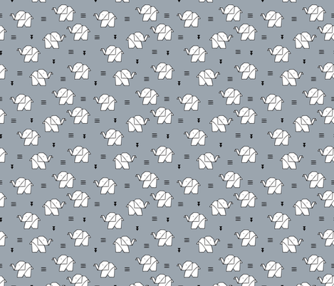 Cute Origami Japanese Paper Art Baby Elephants Geometric Triangles Gender Neutral Black And White Fabric By