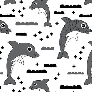 Cute kids dolphin design scandinavian style drawing with geometric crosses and water waves black and white gray