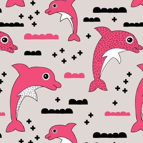 Cute kids dolphin design scandinavian style drawing with geometric crosses and water waves bright pink