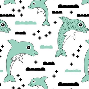 Cute kids dolphin design scandinavian style drawing with geometric crosses and water waves mint