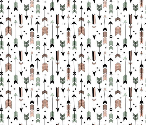 indian summer scandinavian style illustration arrows and geometric crosses gender neutral black and white coral mint fabric by littlesmilemakers on Spoonflower - custom fabric