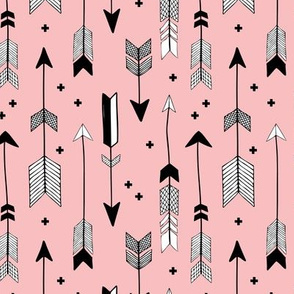 indian summer scandinavian style illustration arrows and geometric crosses girls black and white soft pastel pink