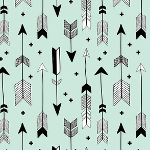 indian summer scandinavian style illustration arrows and geometric crosses gender neutral black and white mint